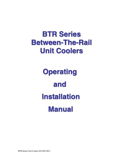 SGS BTR Series Unit Cooler IOM User Manual
