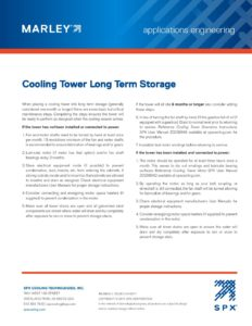 Cooling Tower Long Term Storage