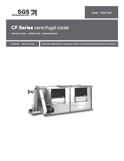SGS CF Series II Centrifugal Product Cooler IOM User Manual