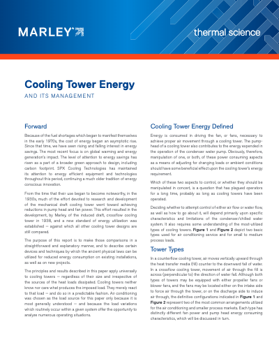 Cooling Tower Energy and Its Management