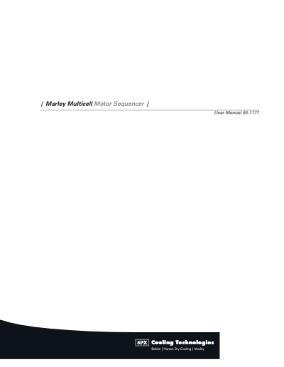 Marley Multicell Motor Sequencer Manual – Non Current