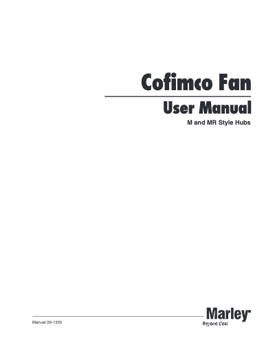 Cofimco Fan User Manual - Non Current