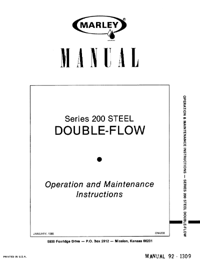 Marley Series 200 Steel Double-Flow User Manual – Non Current