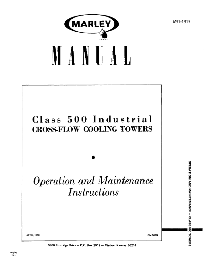 Class 500 Crossflow Cooling Tower User Manual - Non Current