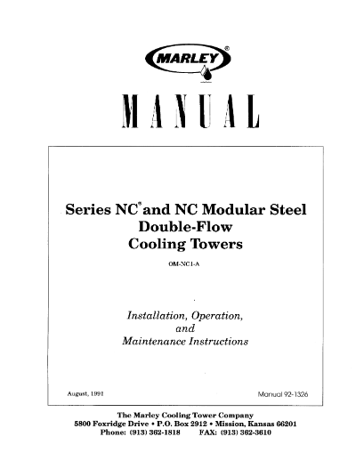 Marley Series NC and NC Modular Steel Double-Flow User Manual – Non Current