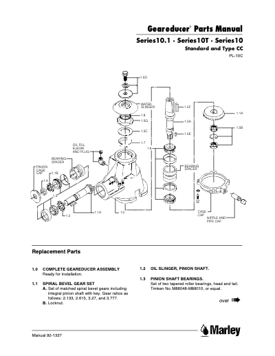 Geareducer 10, 10.1 and 10T Parts Manual - Non Current