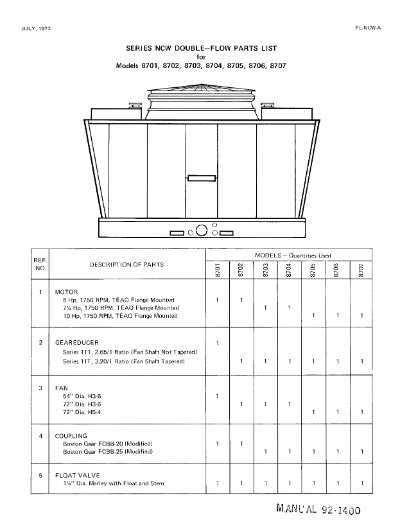 Marley Series 8700 NCW Tower Parts List – Non Current