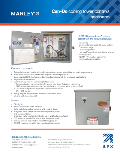 Marley Can-Do Cooling Tower Control Panel Specifications