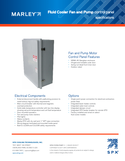 Marley CoolBoost Fluid Cooler Fan and Pump Control Panel Specifications