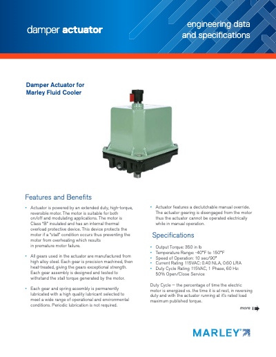 Damper Actuator Engineering Data and Specifications