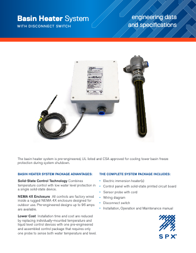 Basin Heater Package with Disconnect Switch Engineering Data and Specifications