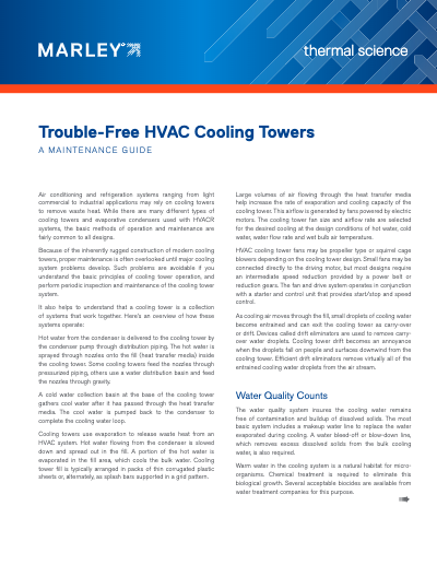 Trouble-Free HVAC Cooling Towers - A Maintenance Guide
