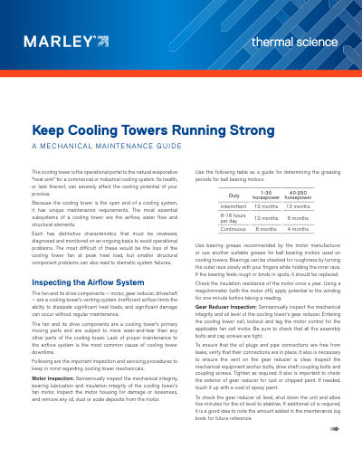 How to Keep Cooling Towers Running Strong