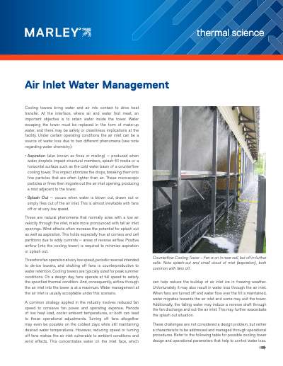 Air Inlet Water Management