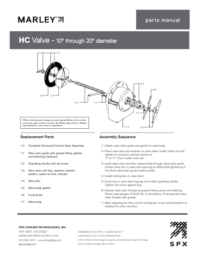 Marley Horizontal Flow Control Valve 10″-20″ Parts List