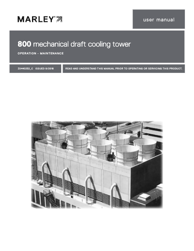 Class 800 Mechanical Draft Cooling Tower User Manual