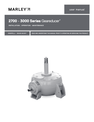 Marley Series 2700 and 3000 Geareducer Manual