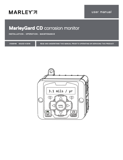 MarleyGard CD Corrosion Monitor IOM User Manual