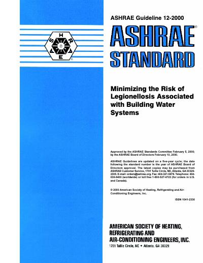 ASHRAE Guideline 12-2000 Legionellosis