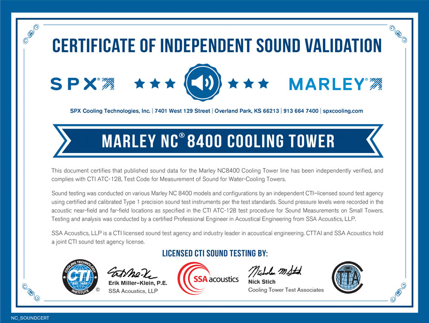 Third-party sound testing is essential to verifying cooling tower noise levels